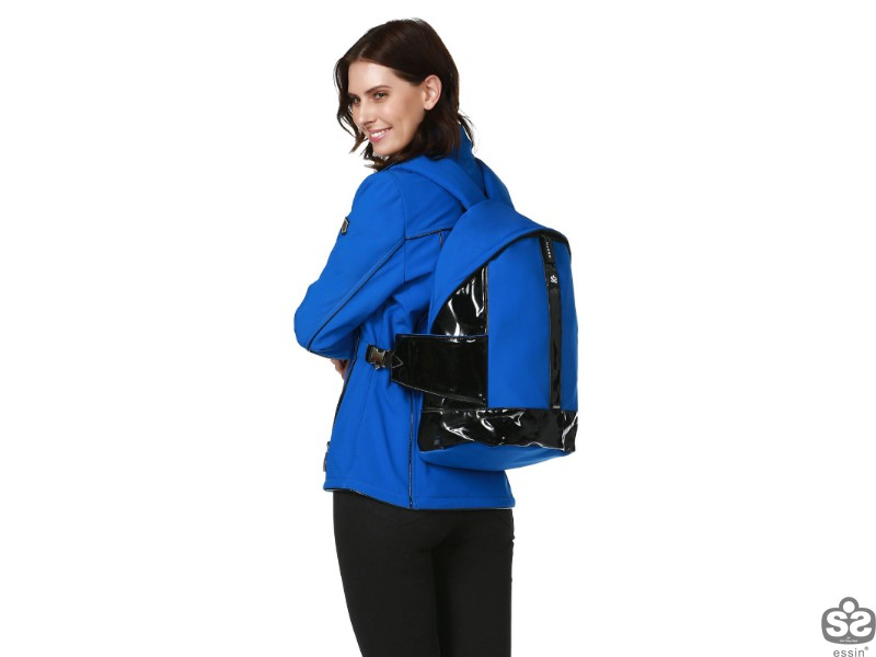 Bayan Soft Shell Çantalı Mont - Mavi